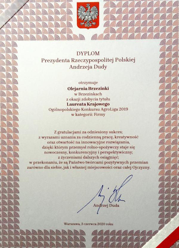 Dyplom Prezydenta Rzeczypospolitej Polskiej